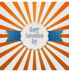 Friendship day paper emblem with text and ribbon vector
