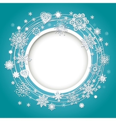 Abstract design with snowflakes for text vector image vector image