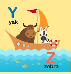 Alphabet letter y-yak z-zebra vector