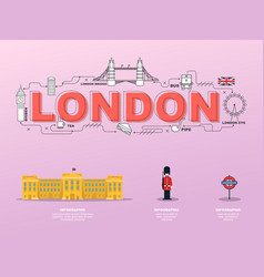 attractive landmark icons for traveling in london vector image