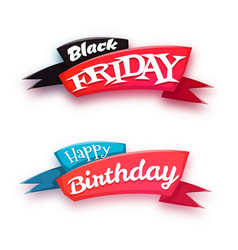 Black friday sale banner with ribbon isolated on vector