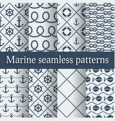 Blue marine seamless patterns set vector image