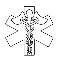 caduceus medicine care symbol thin line vector image