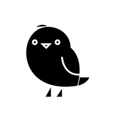 Chiken cute icon black sign vector