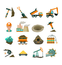 Coal mining equipment flat icons set vector