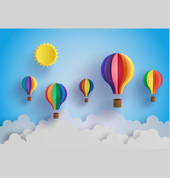 colorful hot air balloon and cloud vector image