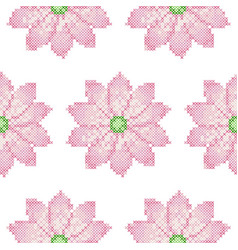Cross stitch lotus seamless pattern vector