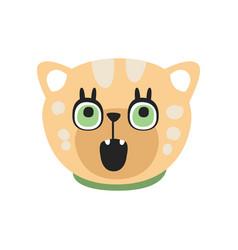 Cute curious kitten head funny cartoon cat vector