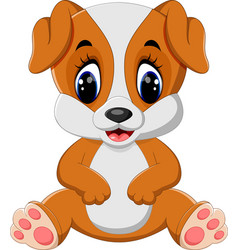 Cute dog sitting with tongue out vector