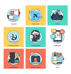 Flat color line design concepts icons 38 vector