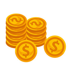 Golden coins piles with dollar sign isolated vector