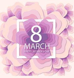 Happy womens day paper flower holiday background vector