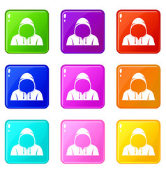 hood icons 9 set vector image