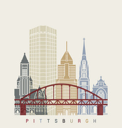pittsaburgh v2 skyline poster vector image vector image