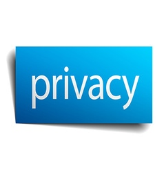 privacy blue paper sign on white background vector image vector image