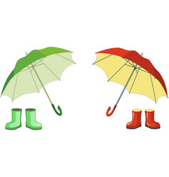 Red green rubber boots umbre vector