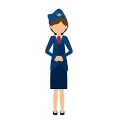 Silhouette front flight attendant in outfit vector