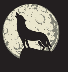 silhouette of a wolf in the moonlight vector image