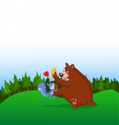 squirrel and bear vector image vector image