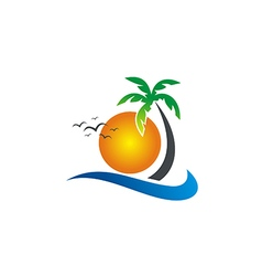 Sunset beach tropic palm tree logo vector