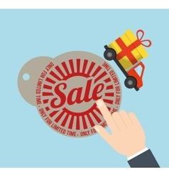 Tag price sale truck gift badge vector