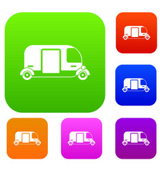 thailand three wheel native taxi set collection vector image