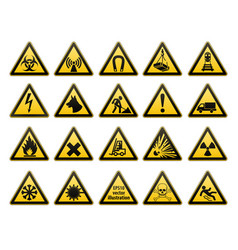 warning signs set safety in workplace yellow vector image