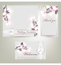 Wedding invitation with floral vector
