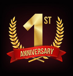1 year anniversary one first celebration vector