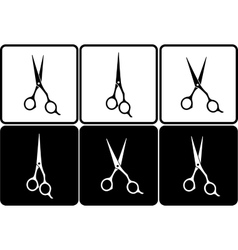 set of isolated black and white scissors vector image