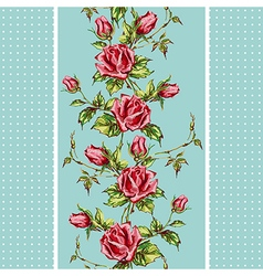Rose pattern on blue vertical vector