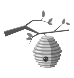 Beehive on tree icon gray monochrome style vector
