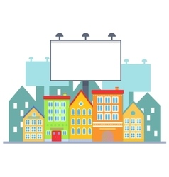 Big blank urban billboard over small city town vector