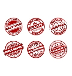 Red mark stamps  Quality and certified vector image