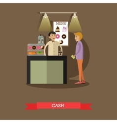 barista and visitor in flat vector image