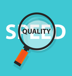 Speed vs quality of services and product concept vector