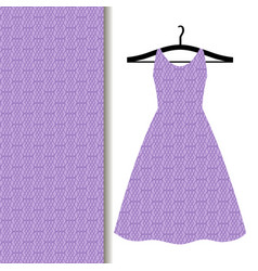Women dress fabric with purple pattern vector