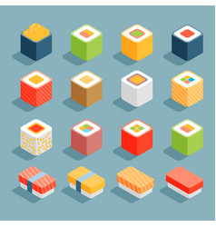 Flat isometric icons sushi vector