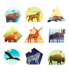 animals polygonal emblem set vector image