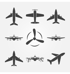 Plane black icons vector