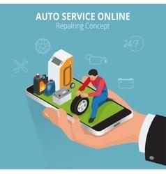 Auto repairing concept auto service online car vector
