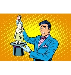 Businessman magician and bunny money vector