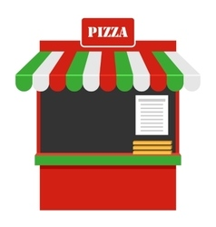 Showcase of sale of pizza stall marketplace vector