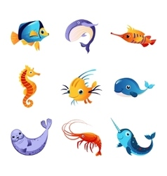 Colorful sea animals set vector