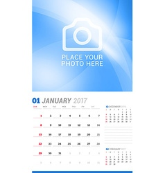 January 2017 wall monthly calendar for 2017 year vector