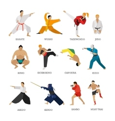 Set of martial arts people silhouette vector