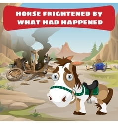 Accident on the road and frightened horse vector