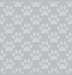Animal paw seamless gray pattern vector