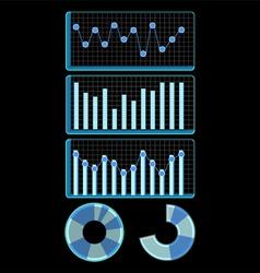 Bar stacked column pie graph hi tech vector