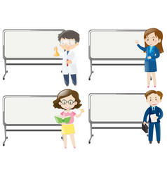 board template with people of different jobs vector image vector image